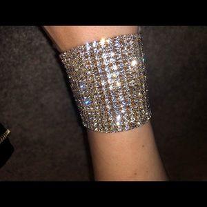 Stretch Rhinestone Bracelet - Crystal Gold NEW
